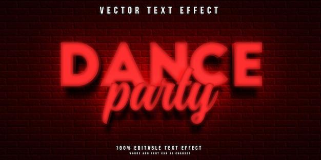 Efeito de texto editável estilo néon na festa dançante
