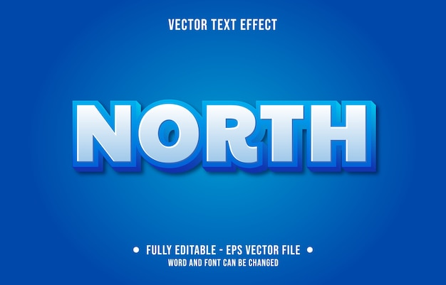 Efeito de texto editável estilo norte moderno