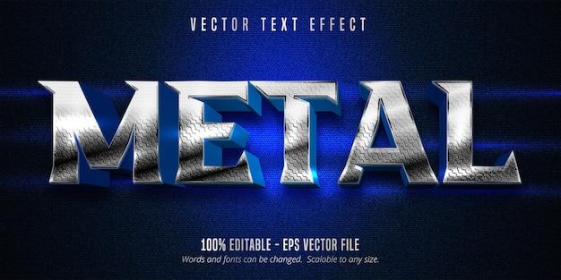 Efeito de texto editável estilo prata metálico