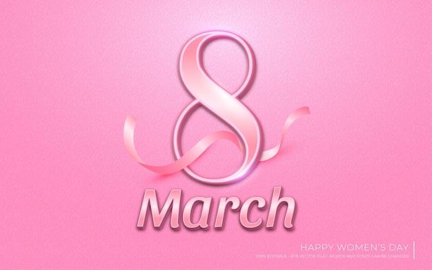 Efeito de texto editável, estilo rosa 8 de março