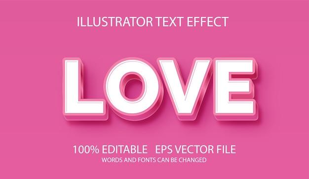 Efeito de texto editável estilo rosa amor