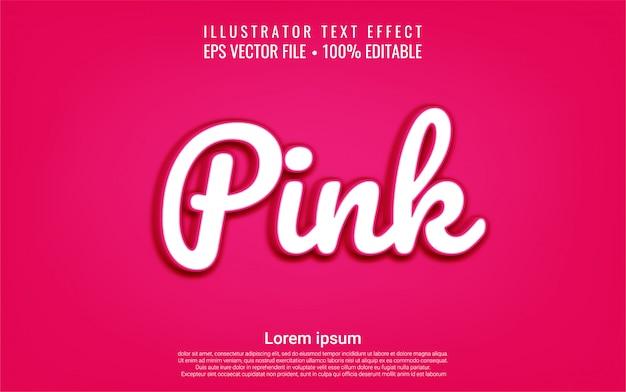 Efeito de texto editável estilo rosa