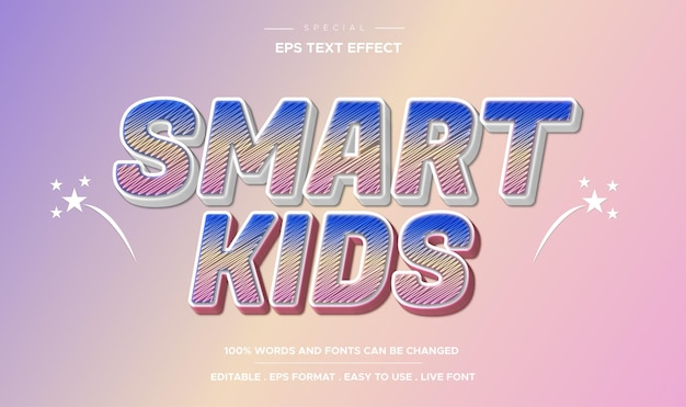 Efeito de texto editável estilo smart kids