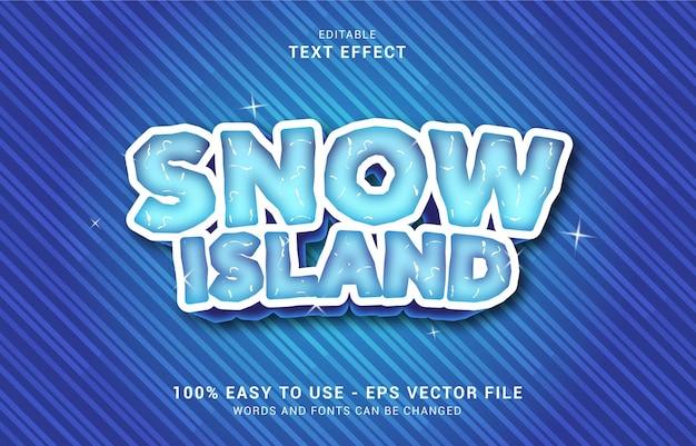 Efeito de texto editável, estilo snow island pode ser usado para fazer título