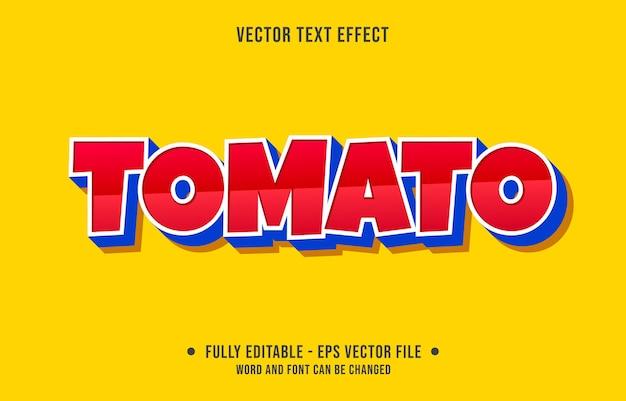 Efeito de texto editável estilo tomate vermelho moderno