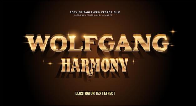 Efeito de texto editável - estilo wolfgang harmony dourado