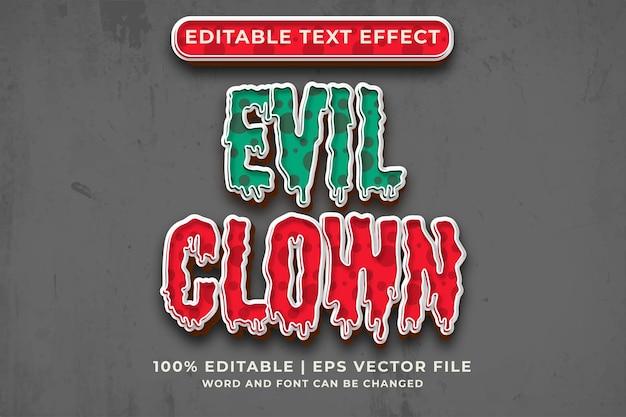 Efeito de texto editável evil clown estilo de modelo 3d premium vector
