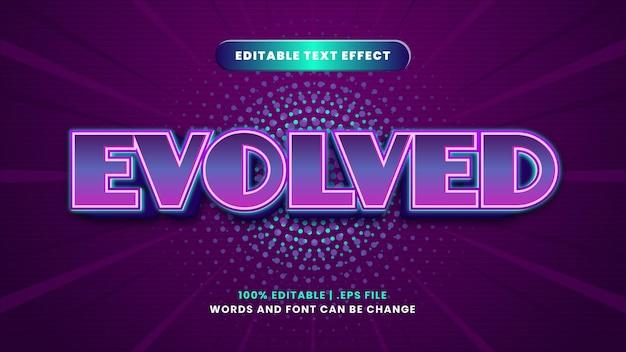 Efeito de texto editável evoluído em estilo 3d moderno
