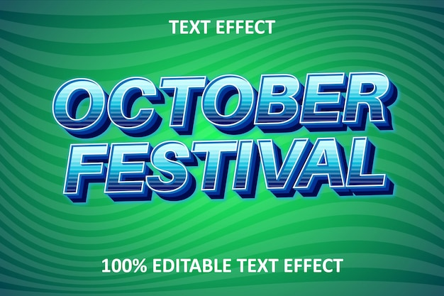 Efeito de texto editável extravagante azul verde claro
