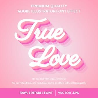 Efeito de texto editável fácil de amor verdadeiro 3d