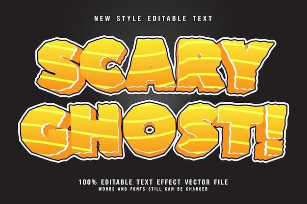 Efeito de texto editável fantasma assustador em relevo estilo moderno