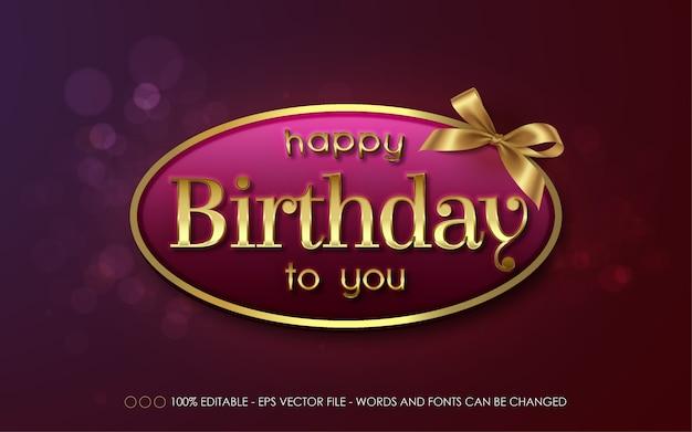 Efeito de texto editável, feliz aniversário para você, ilustrações de estilo