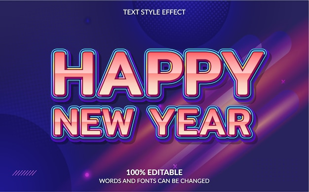 Efeito de texto editável feliz ano novo com fundo abstrato