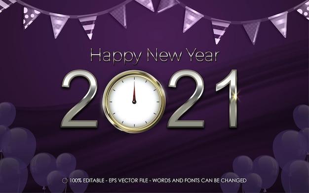 Efeito de texto editável, feliz ano novo e ilustrações no estilo de relógio de parede