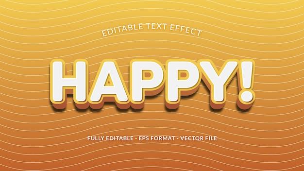Efeito de texto editável feliz com textura de linha ondulada