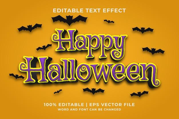 Efeito de texto editável - feliz dia das bruxas estilo de modelo 3d premium vector