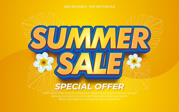 Efeito de texto editável fim da venda de verão fundo 01