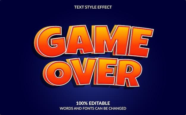 Efeito de texto editável, fim de jogo, estilo de texto de videogame