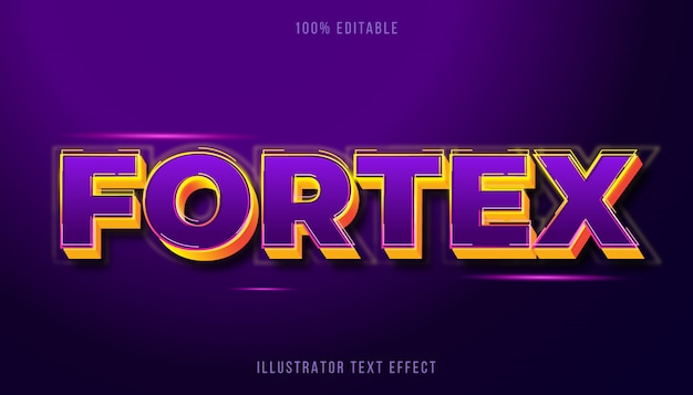 Efeito de texto editável-fortex estilo de título roxo