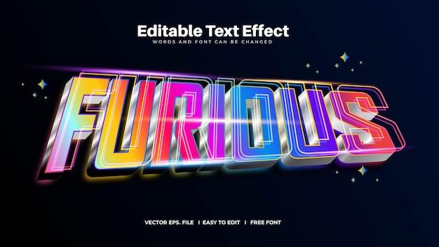 Efeito de texto editável furioso colorido brilhante
