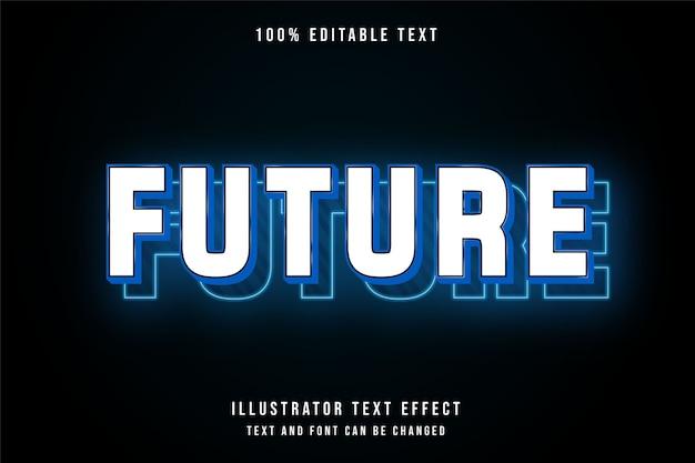 Efeito de texto editável future3d gradação azul noen estilo moderno