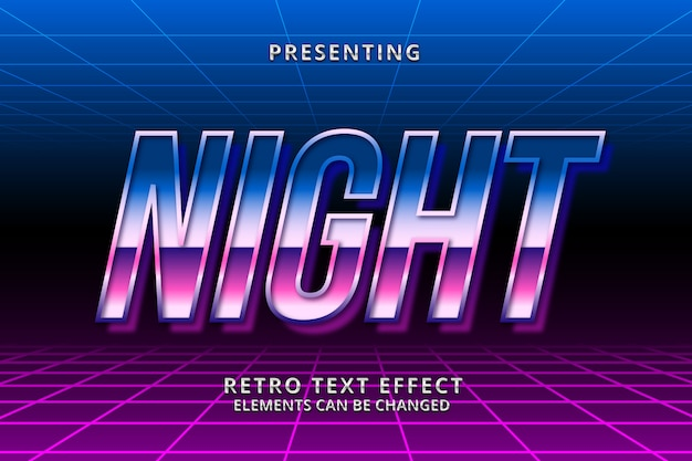 Efeito de texto editável futurista 3d retrowave