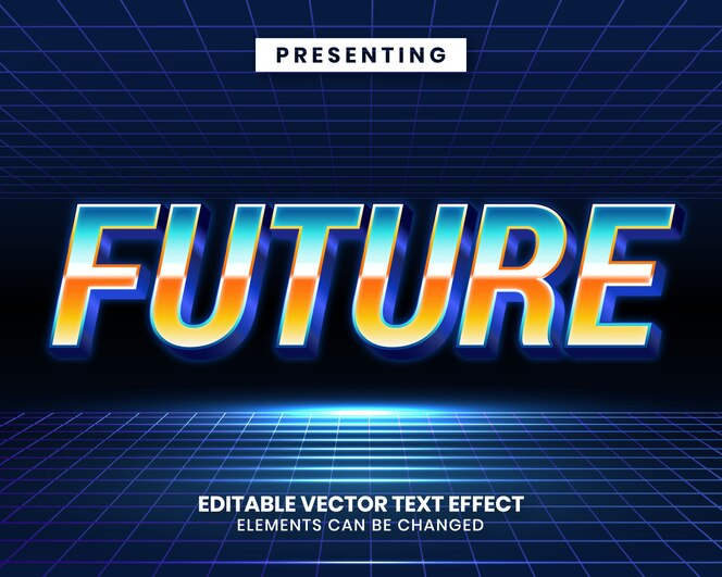Efeito de texto editável futurista de retrowave