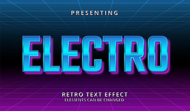 Efeito de texto editável futurista retrô