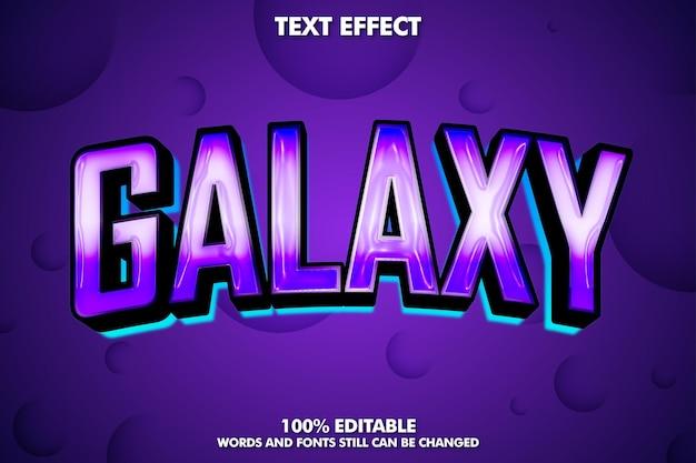 Efeito de texto editável galaxy com sombra e