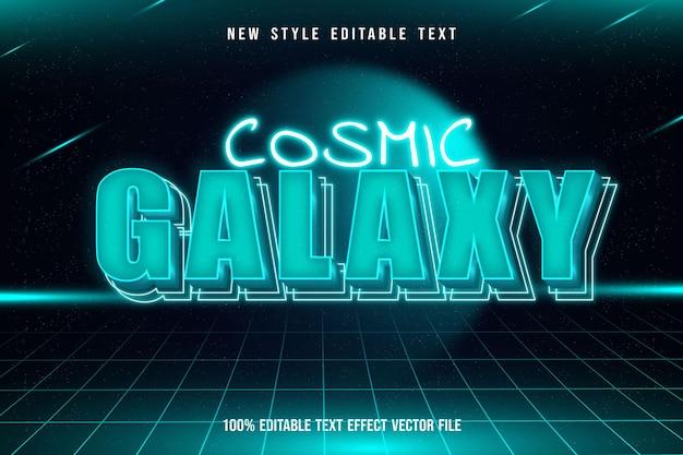 Efeito de texto editável galaxy estilo neon tosca moderno Vetor Premium