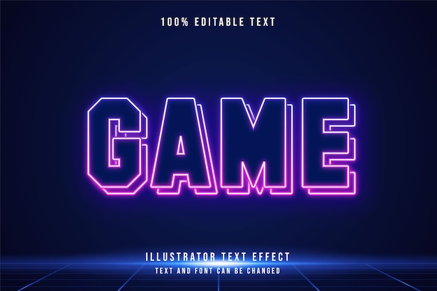 Efeito de texto editável game3d gradação azul rosa estilo futurista neon moderno