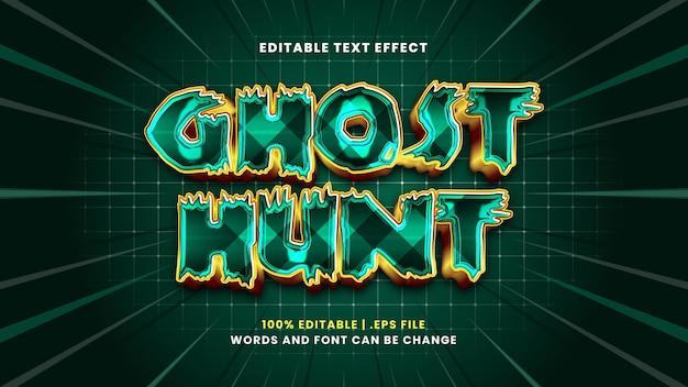 Efeito de texto editável ghost hunt em estilo 3d moderno
