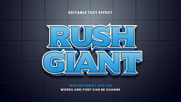 Efeito de texto editável gigante do rush em estilo 3d moderno