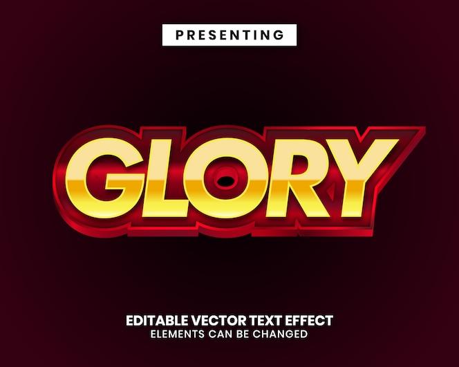 Efeito de texto editável - glória estilo metal brilhante