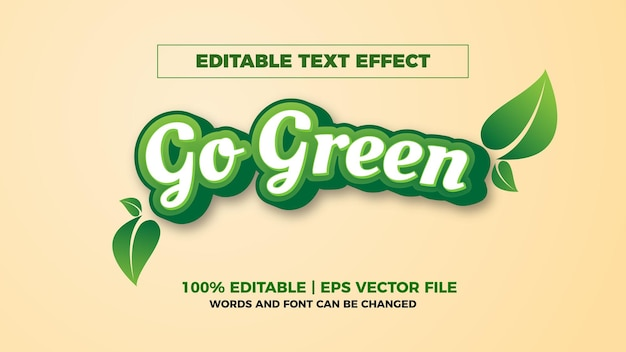 Efeito de texto editável go green