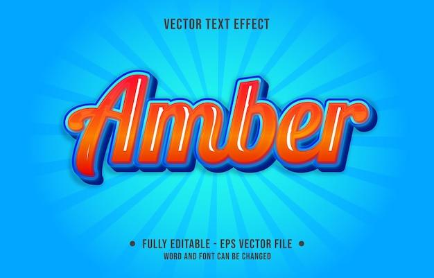 Efeito de texto editável - gradiente âmbar laranja cor azul estilo artístico