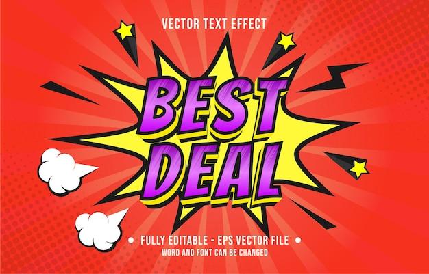 Efeito de texto editável gradiente de cor estilo de quadrinhos pop art para modelo de efeito de fonte de mídia digital e impressa