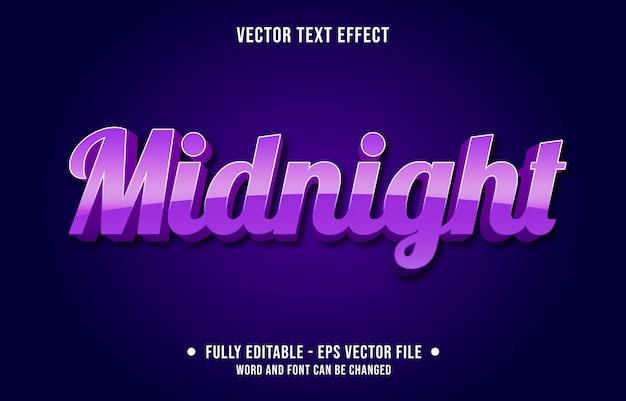 Efeito de texto editável gradiente roxo meia-noite estilo moderno