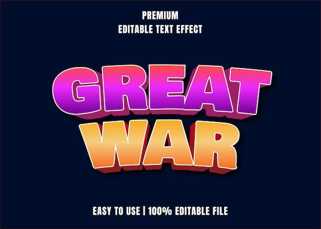 Efeito de texto editável - grande estilo de desenho animado de guerra Vetor Premium