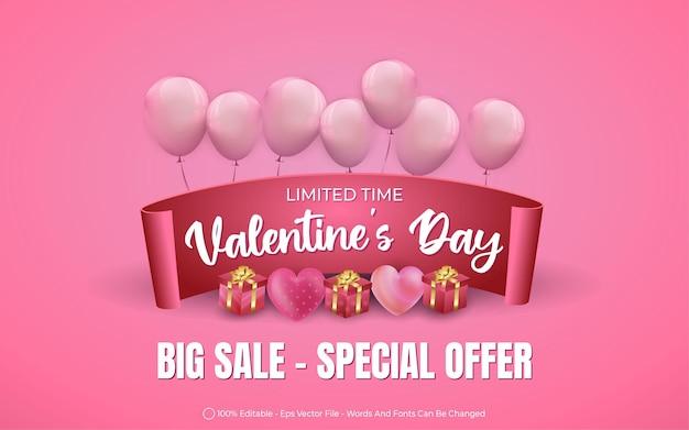 Efeito de texto editável, grande promoção do dia dos namorados com balões e ilustrações de estilo de presente