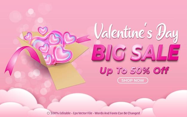 Efeito de texto editável, grande promoção do dia dos namorados