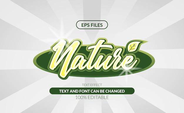 Efeito de texto editável green nature organic