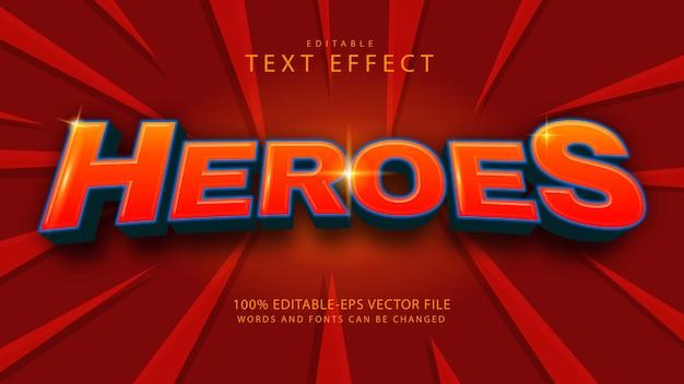 Efeito de texto editável heroes