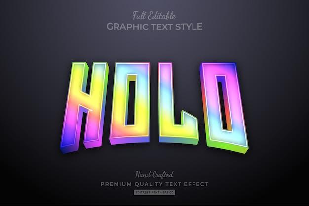 Efeito de texto editável holográfico gradiente borrado