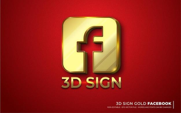 Efeito de texto editável, ícone de sinal de ilustrações de estilo fb