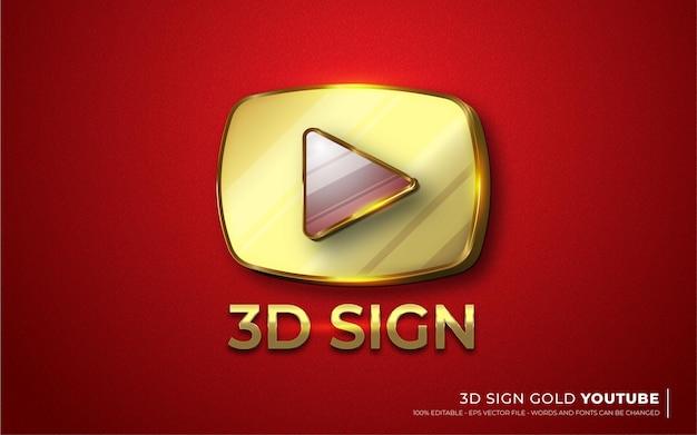Efeito de texto editável, ícone de sinal de ilustrações do estilo do youtube