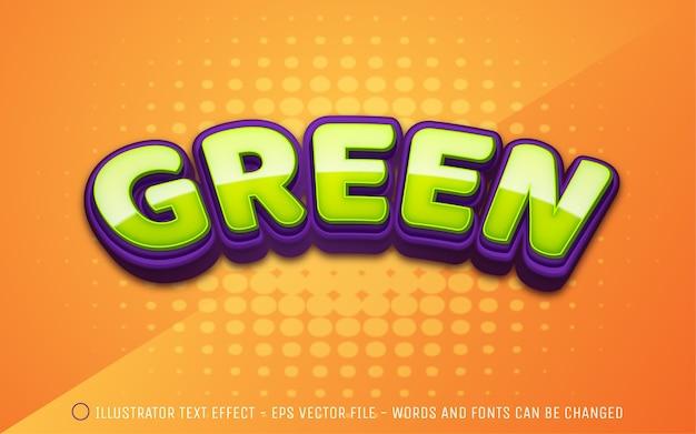 Efeito de texto editável ilustração do estilo verde