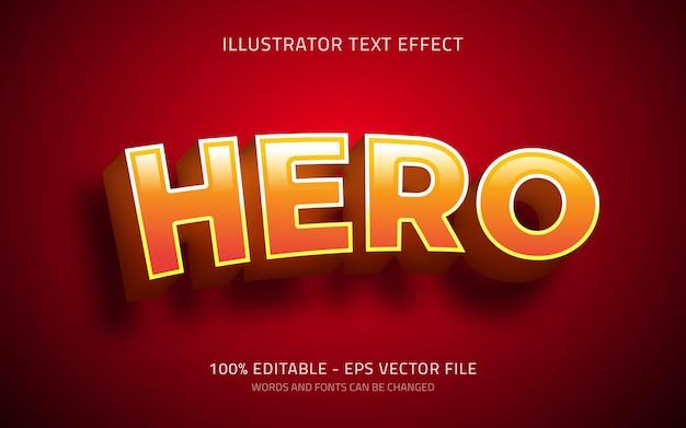 Efeito de texto editável, ilustrações de estilo 3d herói