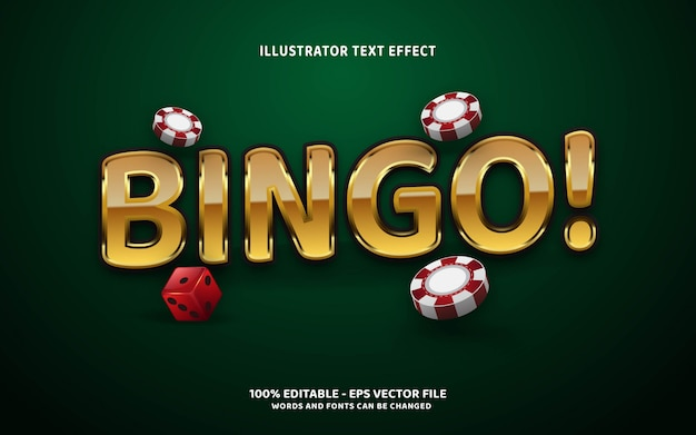 Efeito de texto editável, ilustrações de estilo bingo