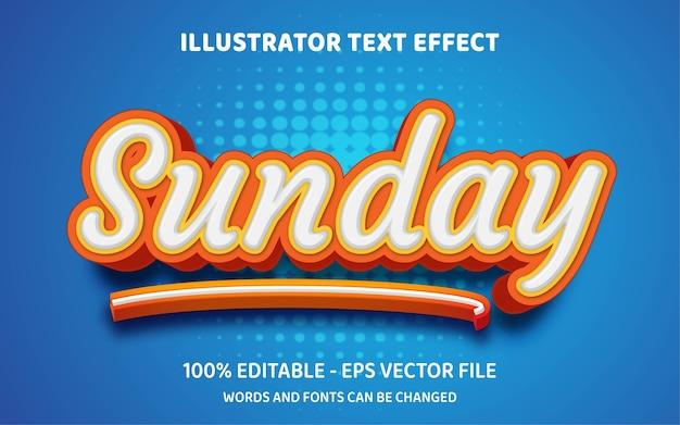 Efeito de texto editável, ilustrações de estilo de domingo